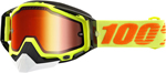 100% Snow Snowmobile RACECRAFT Goggles (Flo Yellow w/Anti-Fog Mirror Red Lens) Adult
