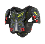Alpinestars MX/Motocross A-10 Full Chest/Back Protector Roost Guard (Anthracite/Black/Red/Yellow)