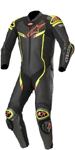 Alpinestars GP PRO v2 Leather Race Suit Tech-Air Compatible (Black/Metallic Gray/Fluo Yellow)