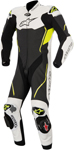 ALPINESTARS Atem 1PC Leather Road/Track Motorcycle Suit (Black/White/Flo Yellow)