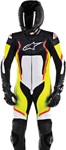 Alpinestars Men's MOTEGI V2 1-Piece Leather Road/Track Riding Suit (Black White Flo Yellow Flo Red)