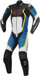 Alpinestars Men's MOTEGI V2 1-Piece Leather Road/Track Riding Suit (Black White Blue Flo Yellow)