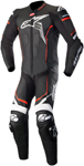 Alpinestars GP PLUS v2 1-Piece Leather Motorcycle Riding Suit (Black/White/Fluo Red)