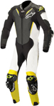 Alpinestars ATEM v3 1-Piece Leather Motorcycle Riding Suit (Black/White/Flo Yellow)