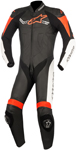 Alpinestars CHALLENGER v2 1-Piece Leather Motorcycle Riding Suit (Black/White/Fluo Red)