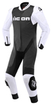 Icon Motosports HYPERSPORT 1-Piece Leather Riding Suit (White/Black)