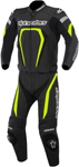 Alpinestars 2016 MOTEGI 2-Piece Leather Road/Track Riding Suit (Black/Hi-Viz Yellow)