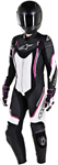 Alpinestars Women's Stella MOTEGI V2 1-Piece Leather Road/Track Riding Suit (Black/White/Pink)