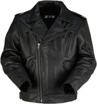 Z1R Men's FORGE Leather Motorcycle Riding Jacket (Black)