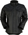 Z1R Men's MOTZ Long Sleeve Leather Motorcycle Riding Shirt (Black)