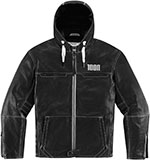 ICON 1000 HOOD Leather Motorcycle Riding Jacket (Black)