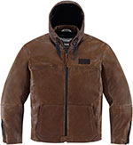 ICON 1000 HOOD Leather Motorcycle Riding Jacket (Brown)