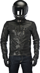 ALPINESTARS OSCAR BRASS Vintage-Look Leather Motorcycle Jacket (Black)