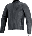 Alpinestars OSCAR MONTY Vintage-Look Leather Motorcycle Jacket (Black)