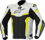 Alpinestars 2016 CELER Leather Riding Jacket w/ Speed Hump (Black/White/Yellow)