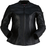 Z1R Women's 35 SPECIAL Leather Motorcycle Riding Jacket (Black)