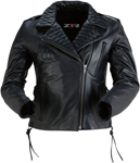 Z1R Women's FORGE Leather Motorcycle Riding Jacket (Black)