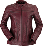 Z1R Women's 410 Leather Riding Jacket (Merlot Red)