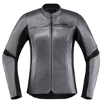 Icon Motosports Women's OVERLORD CE Leather Riding Jacket (Charcoal Grey)