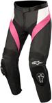 Alpinestars Women's Stella MISSILE Leather Motorcycle Riding Pants (Black/White/Pink)