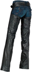 Z1R Women's SABOT Leather Motorcycle Riding Chaps (Black)