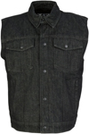Z1R Men's Denim Motorcycle Riding Vest (Black)
