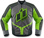 ICON OVERLORD 2 Textile Motorcycle Riding Jacket (Gray/Green)