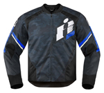 ICON Overlord PRIMARY Perforated Textile Motorcycle Jacket (Blue/Black Camo)