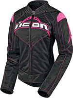 ICON Ladies Contra Textile Motorcycle Jacket (Black/Pink)