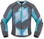 ICON Ladies OVERLORD 2 Textile Motorcycle Riding Jacket (Gray/Blue)