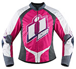 ICON Ladies Overlord SWEET DREAMS Textile Motorcycle Jacket (Pink/Gray)