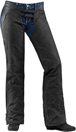 ICON Ladies 1000 Hella Canvas/Leather Motorcycle Chaps (Black)