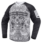 ICON 1000 LACE FACE Offroad Dual-Sport MX Jersey (Black/White)