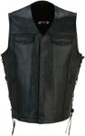 Z1R Men's GAUCHO Leather Motorcycle Riding Vest (Black)