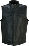 Z1R Men's VINDICATOR Leather Motorcycle Riding Vest (Black)