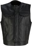 Z1R Men's GANJA Leather Motorcycle Riding Vest (Black)