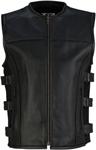 Z1R Men's INFILTRAOR Leather Motorcycle Riding Vest (Black)