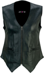 Z1R Women's SCORCH Leather Motorcycle Riding Vest (Black)