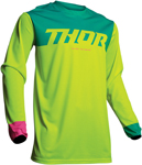 Thor MX Motocross Men's Pulse FACTOR Jersey (Flo Green/Teal/Pink)
