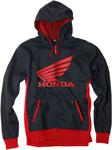 Factory Effex Official Licensed HONDA Limit Zip-Up Hoodie Sweatshirt (Black/Red)