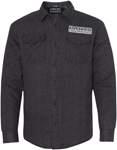 Throttle Threads Men's PARTS UNLIMITED Solid Flannel Quilted Jacket (Charcoal)