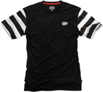 100% MX Motocross FOLSOM Short Sleeve T-Shirt (Black / White Stripes)