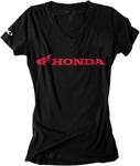 Factory Effex Official Licensed Women's HONDA Horizontal V-Neck T-Shirt (Black)