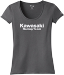 Factory Effex Official Licensed Women's KAWASAKI Racing Scoop Neck T-Shirt (Charcoal)