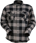 Z1R Men's DUKE Long Sleeve Cotton Flannel Motorcycle Riding Shirt (Grey/Black)
