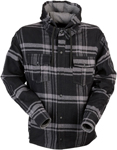 Z1R TIMBER Flannel Shirt w/ Hood (Black/Gray)
