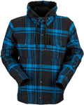 Z1R TIMBER Flannel Shirt w/ Hood (Black/Blue)