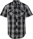 Throttle Threads Men's ORIGINALS Plaid Short-Sleeve Shop Shirt (Black/Grey)