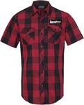 Throttle Threads Men's ORIGINALS Plaid Short-Sleeve Shop Shirt (Black/Red)