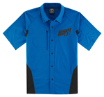 Icon Motosports OVERLORD Snap-Front Shop Shirt (Blue)